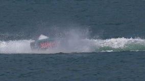 Wakeboard mężczyzna skoku Motorboat spadek zbiory wideo
