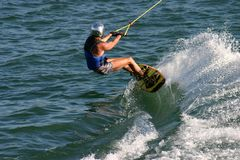 Wakeboard player. Wake boarding Stock Image