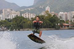 WAKEBOARD. Rio de Janeiro - Brazil, WAKEBOARD at the Rodrigue de Freitas lagoon in the southern zone of the city of Rio de Janeiro Stock Photos