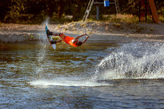 Wakeboard train in the lake sport. Wakeboard train in the lake is an extreme sport for men Royalty Free Stock Photo
