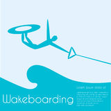 Wakeboard. Ing. Extreme sports. Silhouette person jumping on  on sea background. Vector illustration Royalty Free Stock Images