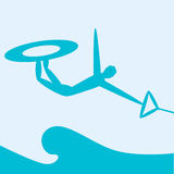 Wakeboard. Ing. Extreme sports. Silhouette person jumping on  on sea background. Vector illustration Royalty Free Stock Image