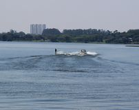 Wakeboard watersport in the lake on sunny day Royalty Free Stock Photography