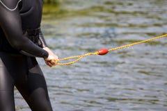 Wakeboard Watersports в костюме подныривания стоковая фотография