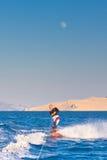 Wakeboarder στο ηλιοβασίλεμα στοκ εικόνες