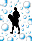 Wakeboarder. Vector illustration of a wakeboarder between blue bubbles Royalty Free Stock Images