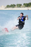 Wakeboarder in actie Royalty-vrije Stock Foto's