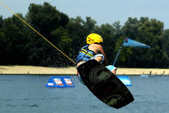 Wakeboarder in action. BELGRADE � JULY 17, World Cable Wake board Tour Royalty Free Stock Photo