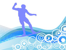 Wakeboarder in action. Vector illustration of a wakeboarder on retro circles Stock Photography
