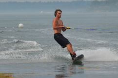 Wakeboarder in Casco Bay Maine on a Warm Summer Day Stock Photos