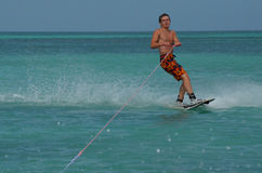Wakeboarder Creating Spray Off the Coast of Aruba Stock Photography