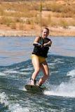 Wakeboarder de Hirl en el lago Powell Fotografía de archivo