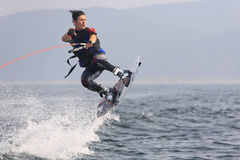Wakeboarder jump Stock Photography