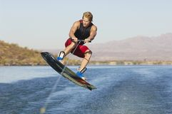 Wakeboarder Jumping Royalty Free Stock Images