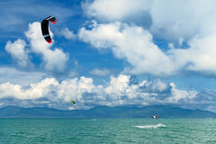 Wakeboarder jumping from water in open sea Royalty Free Stock Photography