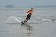 Wakeboarder Riding Regular on Casco Bay in Maine Stock Image