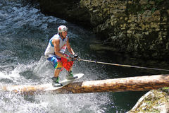 Wakeboarder in a river Royalty Free Stock Photos