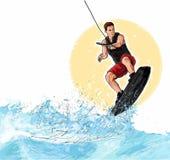 wakeboarding的例证 库存照片