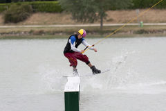 Wakeboarding. ISLE-JOURDAIN, FRANCE - MAY 27, 2011: man on a wakeboard at the International Wake'n Country on may 27, 2011, , Isle-Jourdain, France royalty free stock images