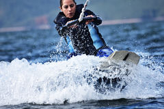 Wakeboarding as extreme and fun sport Royalty Free Stock Image