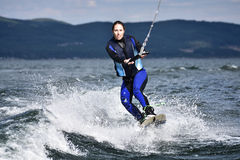 Wakeboarding as extreme and fun sport Royalty Free Stock Photo