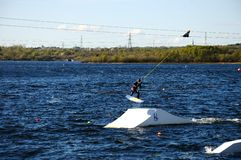 Wakeboarding on Chasewater Lake. Stock Images