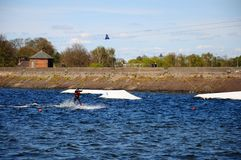 Wakeboarding on Chasewater Lake. Stock Image