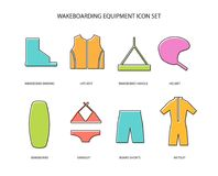 Wakeboarding equipment icons set. Wakeboarding equipment thin line art icons set. Line icon set in modern geometric style. Vector illustration of live vest Royalty Free Stock Images