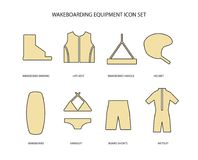 Wakeboarding equipment icons set. Wakeboarding equipment thin line art icons set. Line icon set in modern geometric style. Vector illustration of live vest Stock Photography