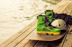 Wakeboarding, extreme water sports. Put on the floor. Wakeboarding After finishing the competition Royalty Free Stock Photography