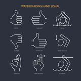 Wakeboarding hand signal. Vector icons set. Line icon set in modern geometric style. Isolated vector illustration of hand gesture boat  wakeboarding Royalty Free Stock Photos