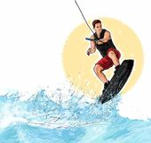 Wakeboarding Illustration. This is a hand-drawn illustration of an athlete wakeboarding. It appears that the young man is jumping a wave stock illustration