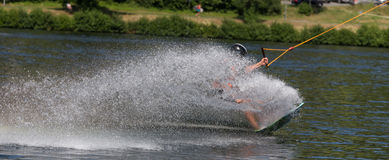 Wakeboarding on a lake Royalty Free Stock Photos