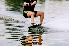 Wakeboarding on lake. Summer recreation in nature Royalty Free Stock Photography