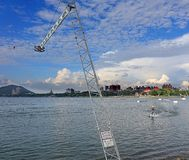 Wakeboarding on the Lotus Lake Stock Photography