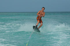 Wakeboarding Ollie Over a Wave in Aruba Royalty Free Stock Image