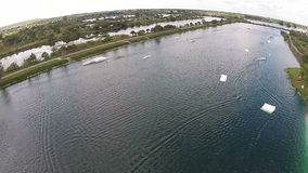 Wakeboarding park aerial view stock footage