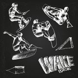 Wakeboarding set. On the chalkboard Stock Photos