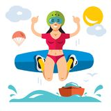 Wakeboarding. Vector Flat style colorful Cartoon. Girl with wakeboard. Isolated on white background Stock Image