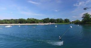 Wakeboarding at Wake Park Jarun, Croatia stock video footage