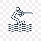 Wakeboarding wektorowa ikona odizolowywająca na przejrzystym tle, Lin ilustracji