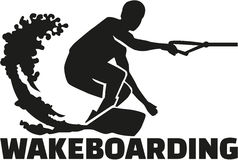 Wakeboarding word with boarder Royalty Free Stock Photography