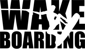 Wakeboarding word with silhouette Stock Photography
