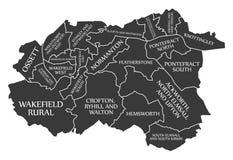 Wakefield City Map England Großbritannien beschriftete schwarze Illustration stock abbildung