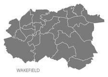 Wakefield-Stadtplan mit Illustrations-Schattenbildform der Bezirke grauer vektor abbildung