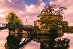 Walton Hall in a scenic setting of rolling parkland with its own. Wakefield, United Kingdom - October 20, 2016: Walton Hall, a 4 star hotel in a scenic setting royalty free stock images