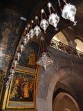 WAKElampen EN BIJBELSE SCÈNES, KERK VAN HET HEILIGE GRAFGEWELF Stock Fotografie
