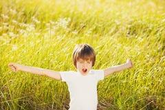 Waking boy on nature Stock Photography