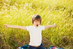 Waking little boy Stock Image