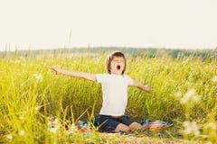 Waking little boy on nature Stock Photos